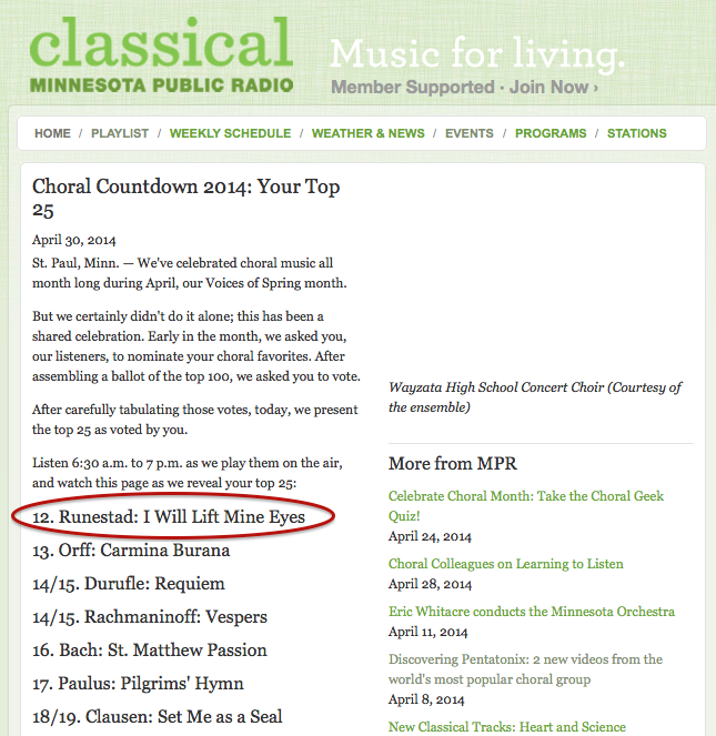 Voted #12 on MPR's Choral Countdown!